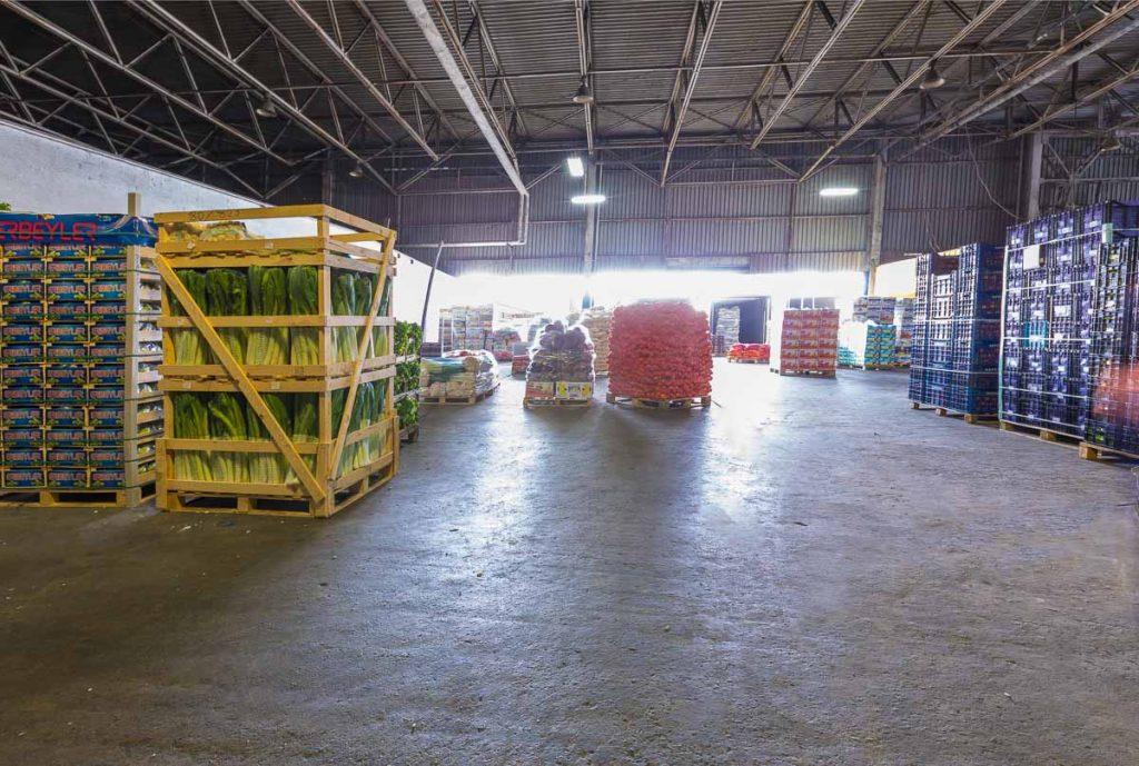 палета със плодове и зеленчуци от заснемане на борса слатина